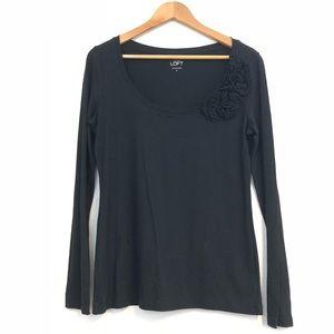 LOFT Ann Taylor Womens medium black sweater flower
